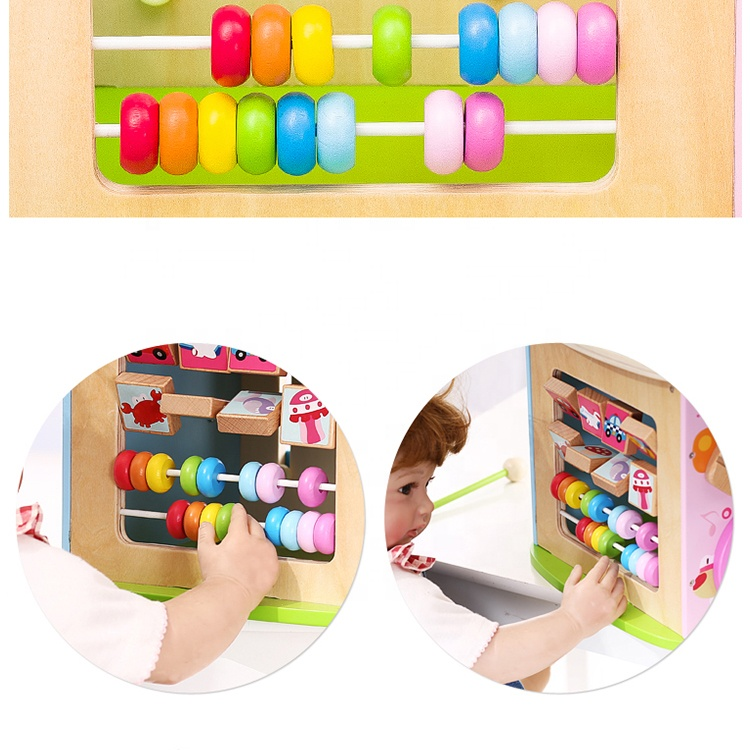 Baby Multi-Function Wired Beads Maze Abacus Montessori Busy Learners Wooden Musical Activity Cube Toys