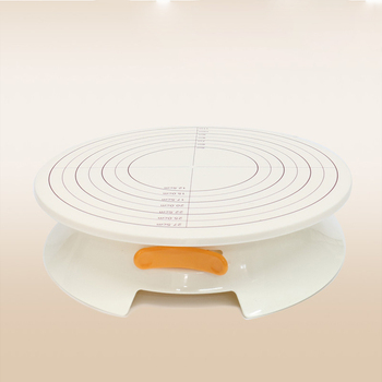 white Cake Decorating Turntable Rotating Cake Stand with Scale Display and Locking Device