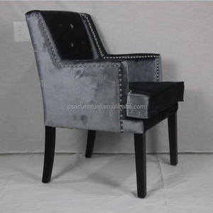 Norway Furniture Grey Velvet Studded Dining Arm Chairs