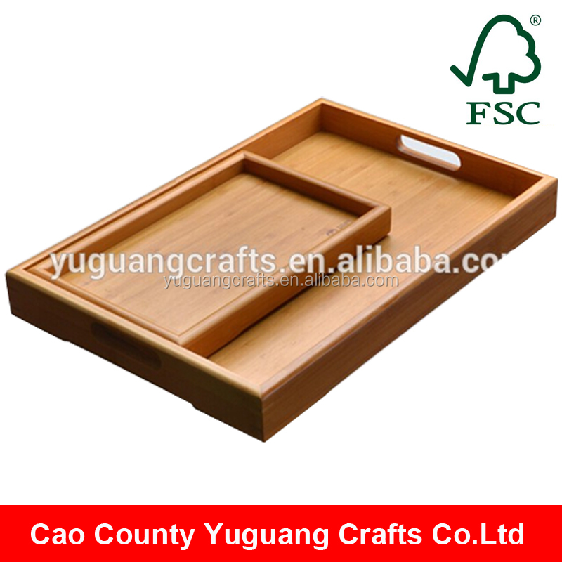 customized rectangular high end wooden serving tray