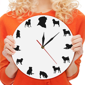 Pug Handmade Acrylic Wall Clock Pekingese Dog Watch Wall Clock Perky Pug Silhouette Timepiece Modern Indoor Decor