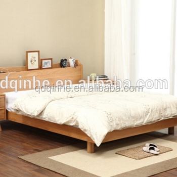 Wooden Bed Modern Simple Pine Double Frame