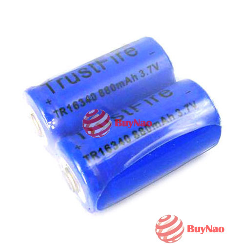 BuyNao High Quality 2x Trustfire 16340 CR123A 880 3.7V Rechargeable Battery [High Quality]