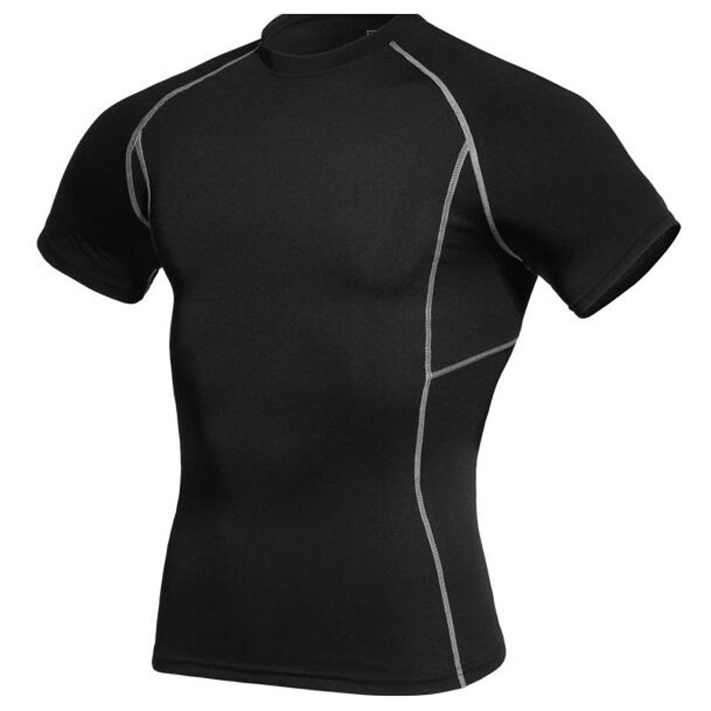 2015 Quick dry Sport Men Compression shirt Track suit Black running shirt training t-shirt fitness gym wear short sleeve camisa