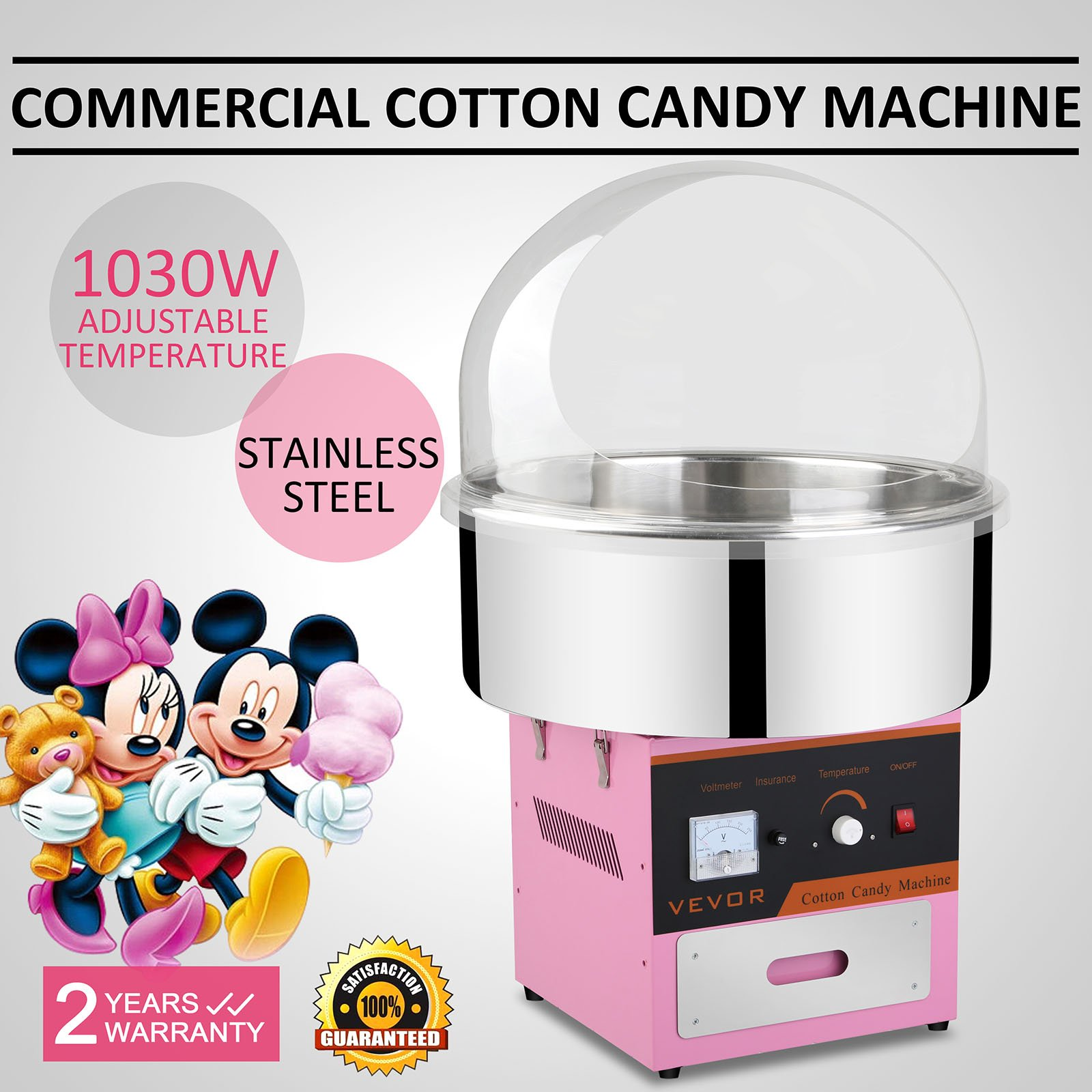 Vevor Cotton Candy Machine Commercial Cotton Candy Machine Candy Floss Maker 1030W Electric Cotton Candy Maker Stainless Steel Pink (Cotton Candy Machine with Cover)