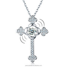 Dancing Stone Cross Pendant Necklace Solid 925 Sterling Silver Vintage Style Gothic Accept Drop Shipping