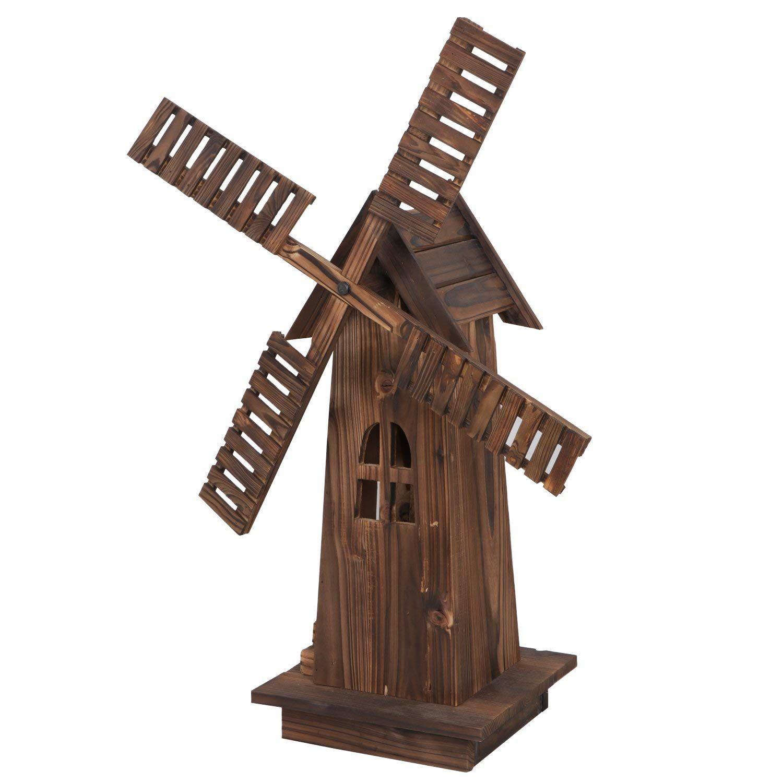"Nova Microdermabrasion 34"" Wooden Dutch Windmill for Garden Yard Classic Old Decorative Windmill Brown"