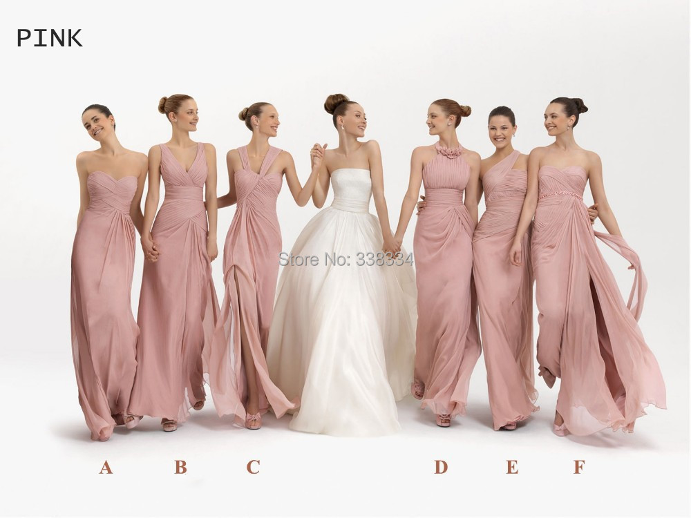 Get Quotations New Arrival Pink Green Orange Blue Lilac Lavender Diffe Style Chiffon Floor Length Long Bridesmaid Dress