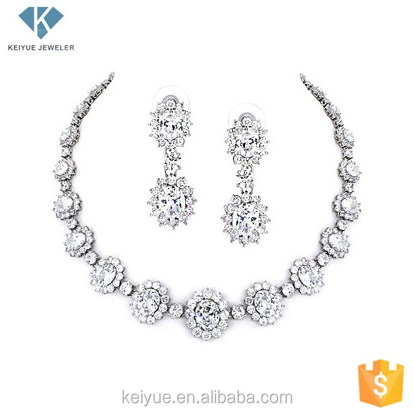 Flower shaped platinum american diamond necklace earring jewellery sets