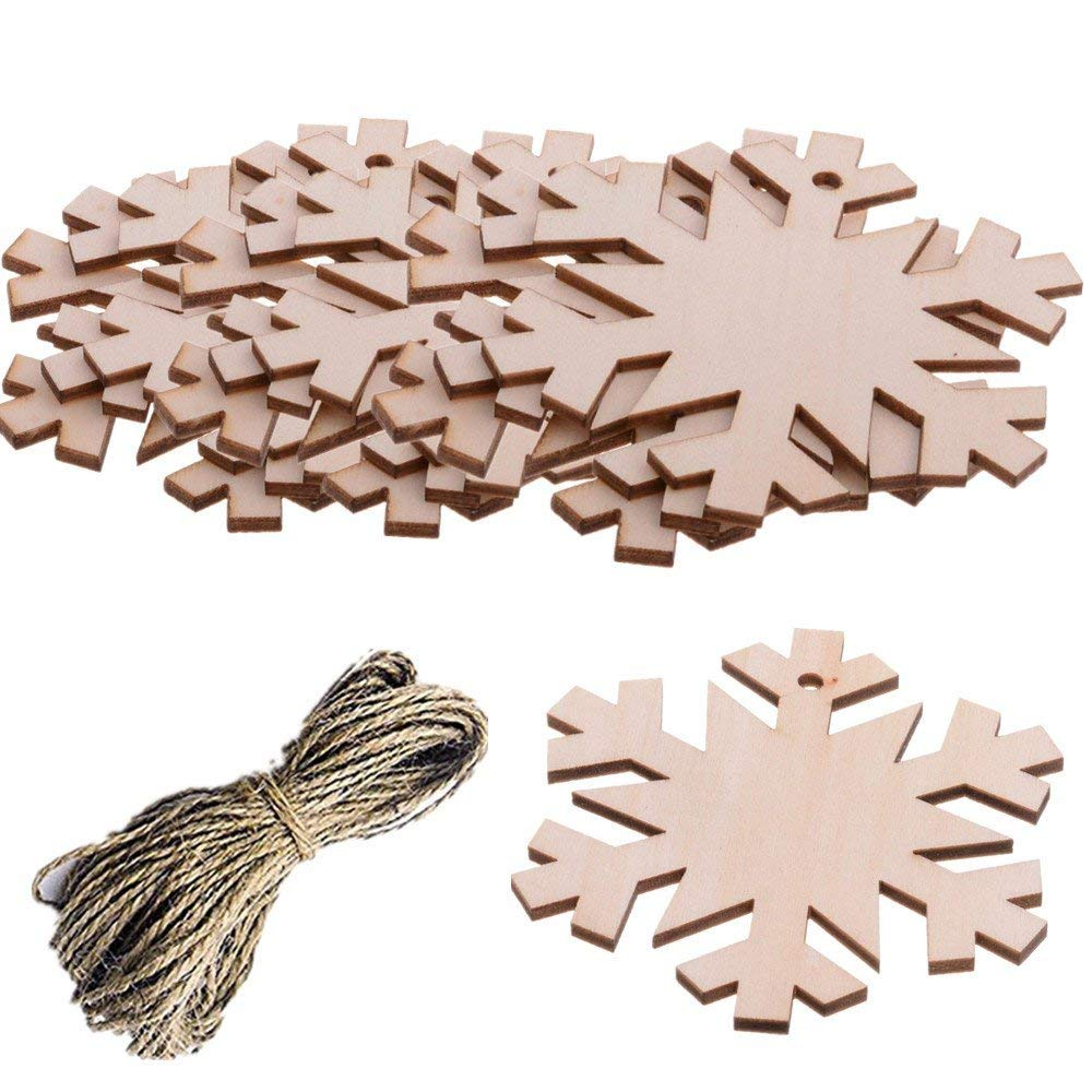 Pack of 10 Christmas Snowflake Wooden Blank Wood Gift Tags Crafts Wood Slices with Holes Cutouts for Kids Crafts Christmas Tree Decoration with 20 Meters Twine