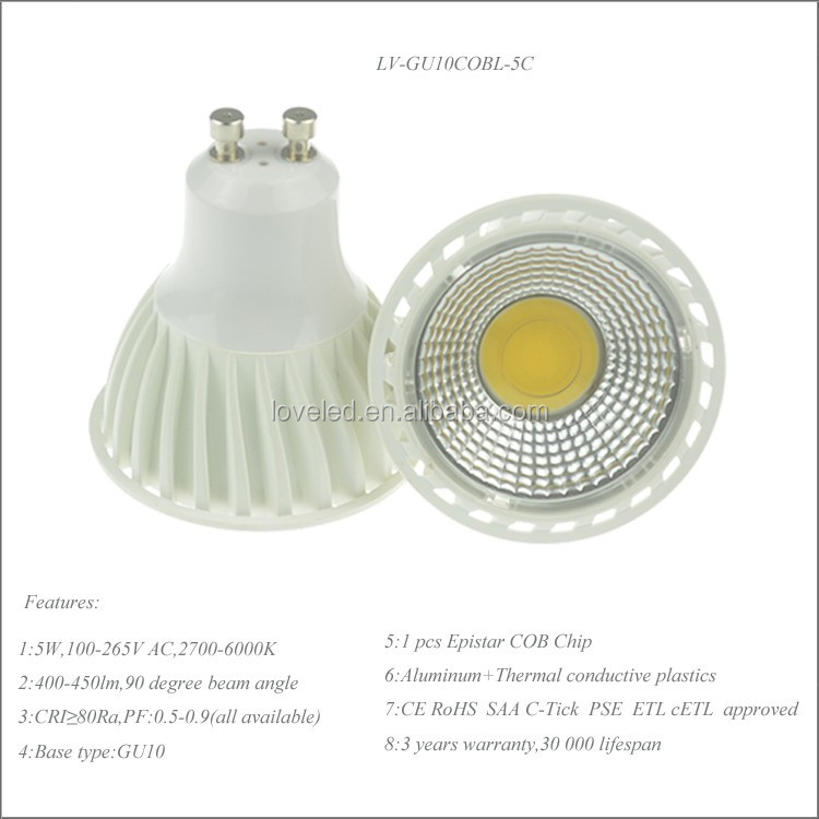 Dimmable Flood Spots Ac 240v 5000k 50w Equivalent Cob Gu10 Led ...