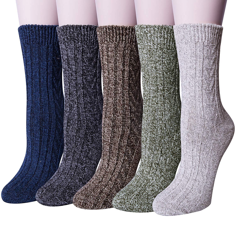 c890df30f0e2 Get Quotations · Loritta 5 Pairs Mens Wool Crew Socks Soft Warm Casual Socks  Thick Knit Wool Cozy Dress