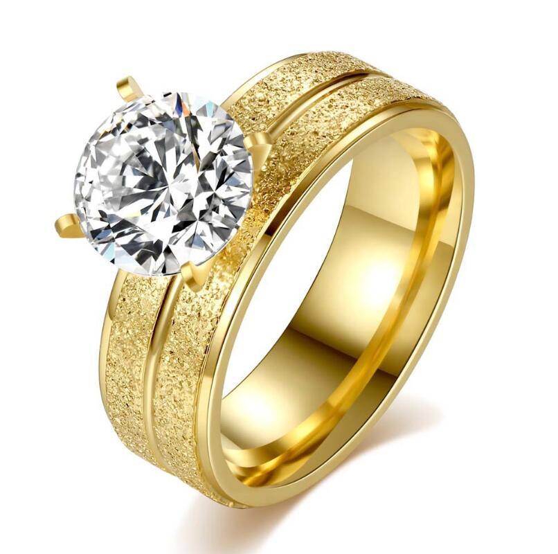 Newest gold jewelry women stainless steel finger ring fashion zircon pave gold ring