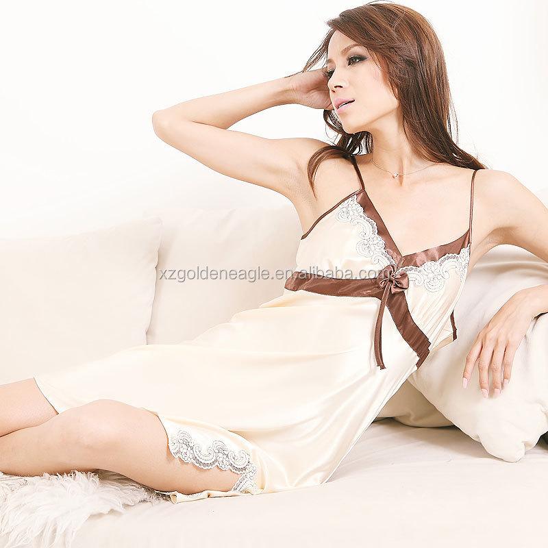 04a2fd7a4 ... Últimas mulheres fashion100 % de seda sleepwear senhoras camisola de seda  pura verão
