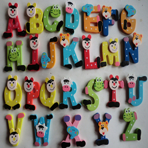26pcs toys for children wooden toys puzzles for children Cartoon Alphabet A-Z Magnets Child Educational Toy Fridge stickers
