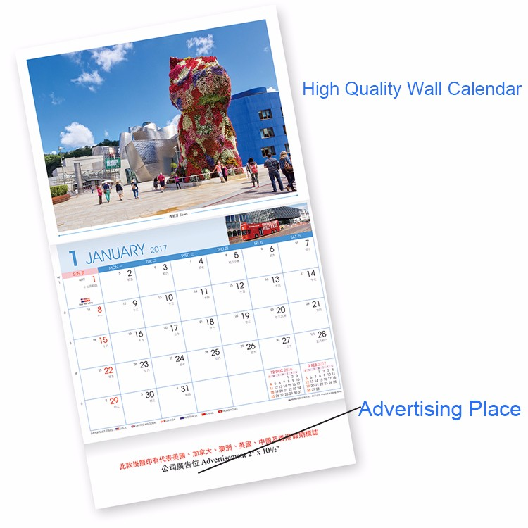 High quality double white spiral colorful office christmas gift custom advertising full color portable planner wall calendar