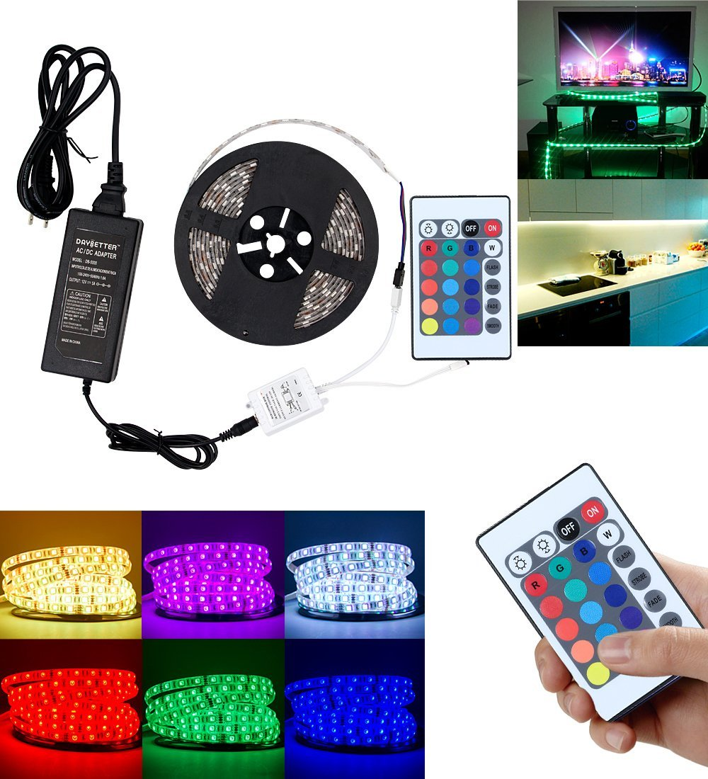 Led Strip Light Kit Waterproof Strip Kit 16.4ft 5m Waterproof Flexible Color Changing RGB SMD5050 300leds LED Strip Light Kit with 24 Keys IR Remote Controller and 12V 5A Power Supply