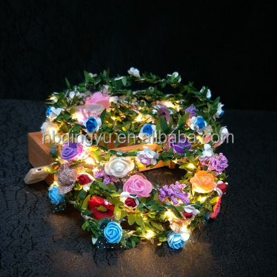 Battery Operated ROSE Flower LED String Lights 1.8ft Ring 10LED Flowers for Indoor & Outdoor Garden, Wedding Decoration