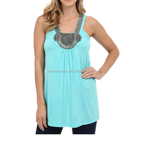 95%polyester/5%spandex loose tank tops wholesale women jeweled tops