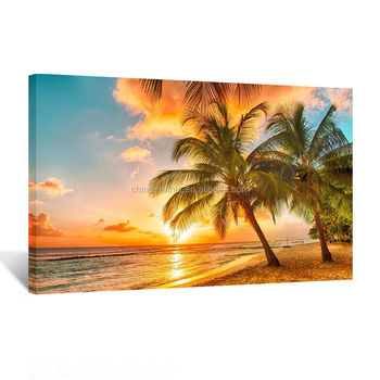 Canvas Print for Home Decoration Sunset Seascape Coco Beach Modern Painting Wall Art Picture Print on Canvas Framed and Ready