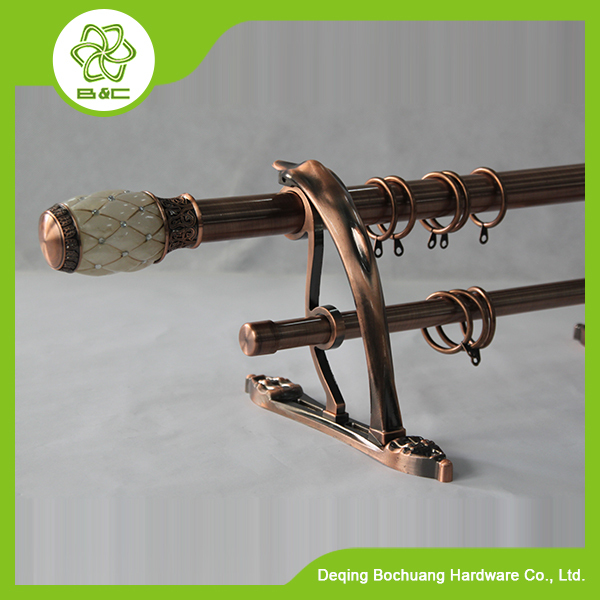 Double pole curtain rods/ zinc alloy double curtain rod