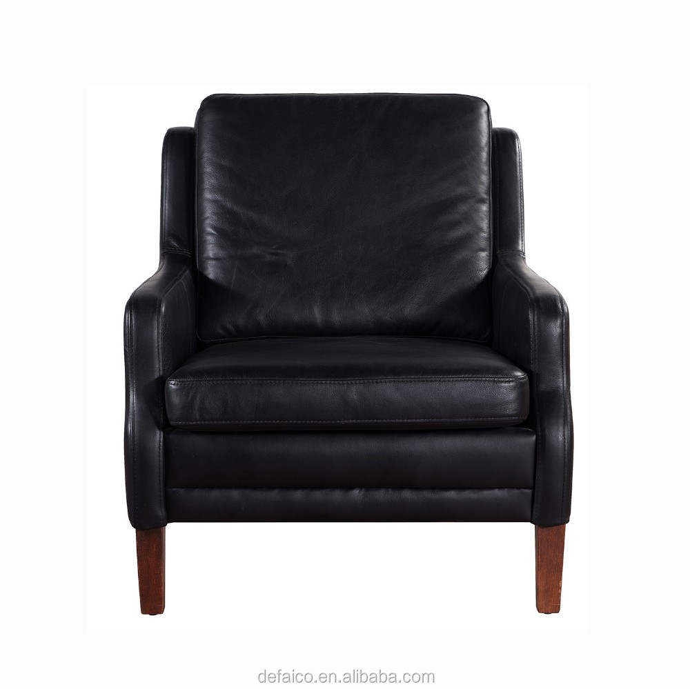 Black Vintage Genuine Leather Wood Legs Hotel Armchair ...
