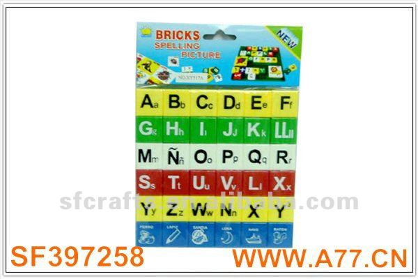 education plastic 36pcs spanish letter block for kid