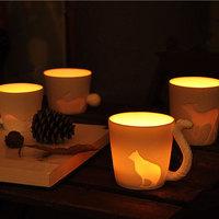 Personality luminous cup animal handle ceramic coffee mug