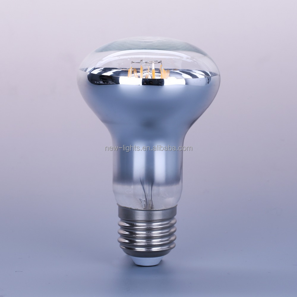half silver mirror crown filament led bulb R63 R80 6W led bulb lights <strong>e27</strong>