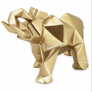 Resin Crafts Animal Statue For Home Decoration Gold Finish Sculpture Elephant