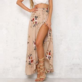 Venta al por mayor de las mujeres étnicas asimétrico impreso Maxi falda  mujeres falda de Boho 70a4800d4b84