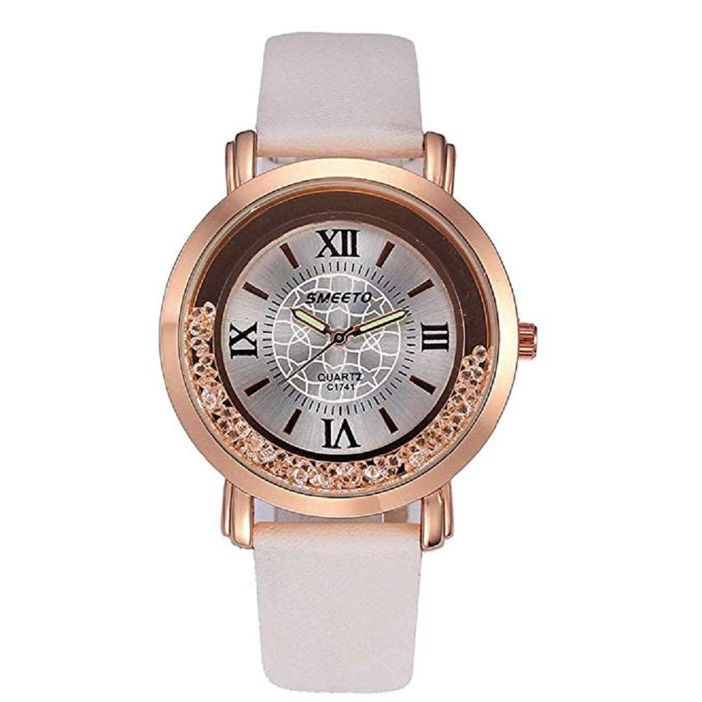 Women's Quartz Watches, Windoson Women's Ladies Teen Girls Fashion Luxury Dress Wrist Quartz Watch with Leather Band Diamonds Unique Simple Casual Quartz Watches Classic Wristwatc (White)