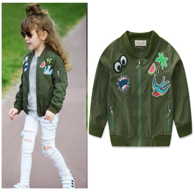 Trendy Kids Baby Girl Cloths Short Style Embroidered Army Green Outdoor Jacket