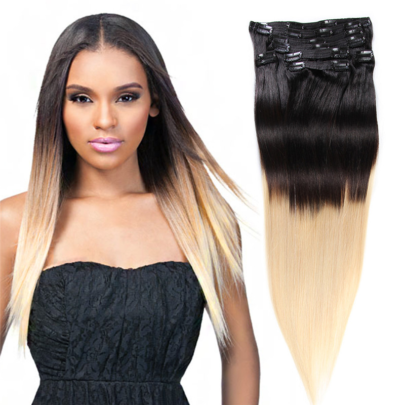 Bohemian Remy Clip In Human Hair Extension120g 150g Two Tone Quad