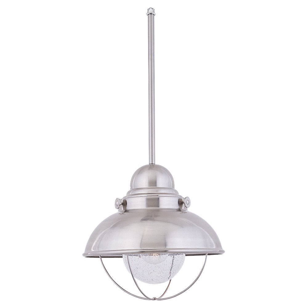 Sea Gull Lighting 6658-98 Single-Light Sebring Outdoor Pendant, Clear Seeded Glass and Brushed Stainless