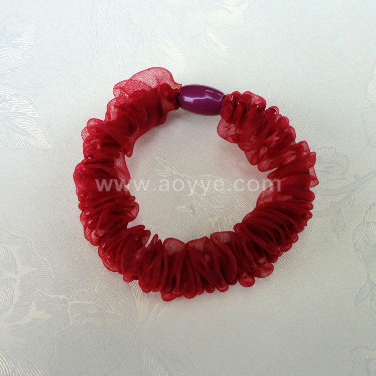 Wholesale custom cheap women fabric net yarn lace hair band fashional Elastic hair band Ring