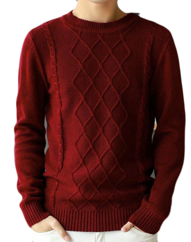 ouxiuli Mens Warm Full Zipper Twist Long Sleeve Knited Sweater
