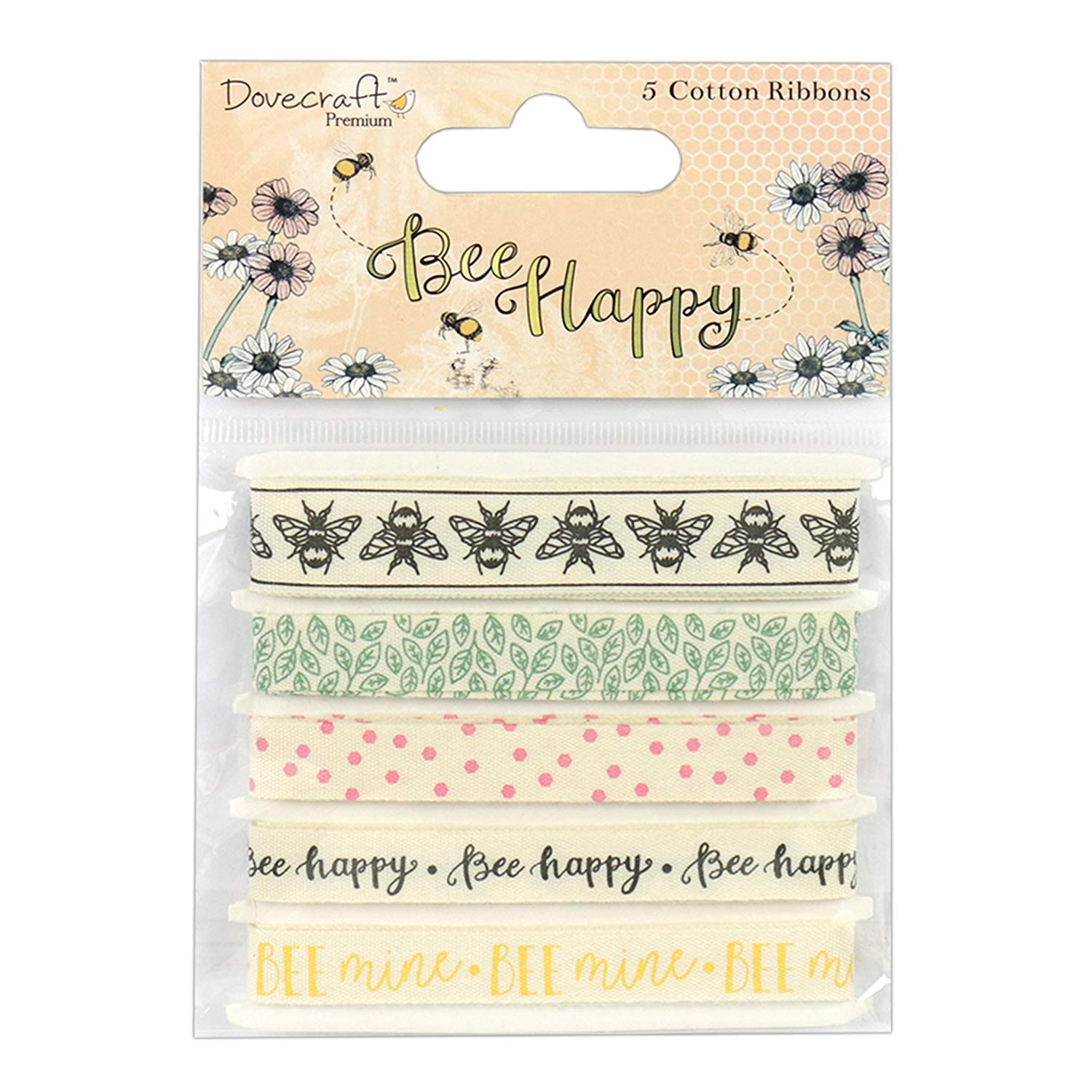 Dovecraft Premium Bee Happy Paper Craft Collection - Cotton Ribbons (1m)