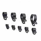 Black Nylon Screw Mounting R Type Cable Clamp Fastener Plastic Wires Cord Clip