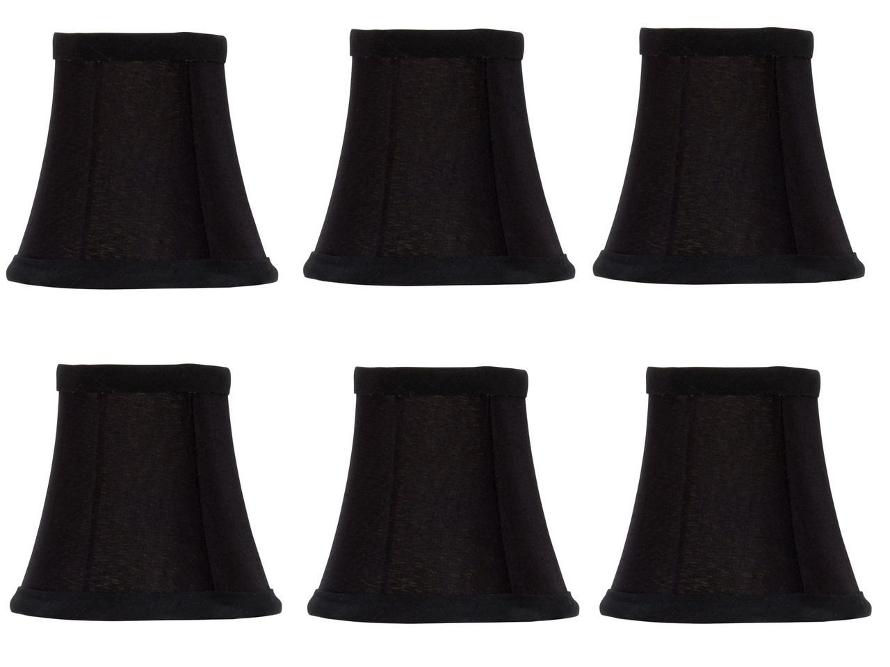 Upgradelights Black Silk with Gold Interior 5 Inch Soft Bell Shaped Clip On Chandelier Lampshades (Set of 6) 2.5x5x4