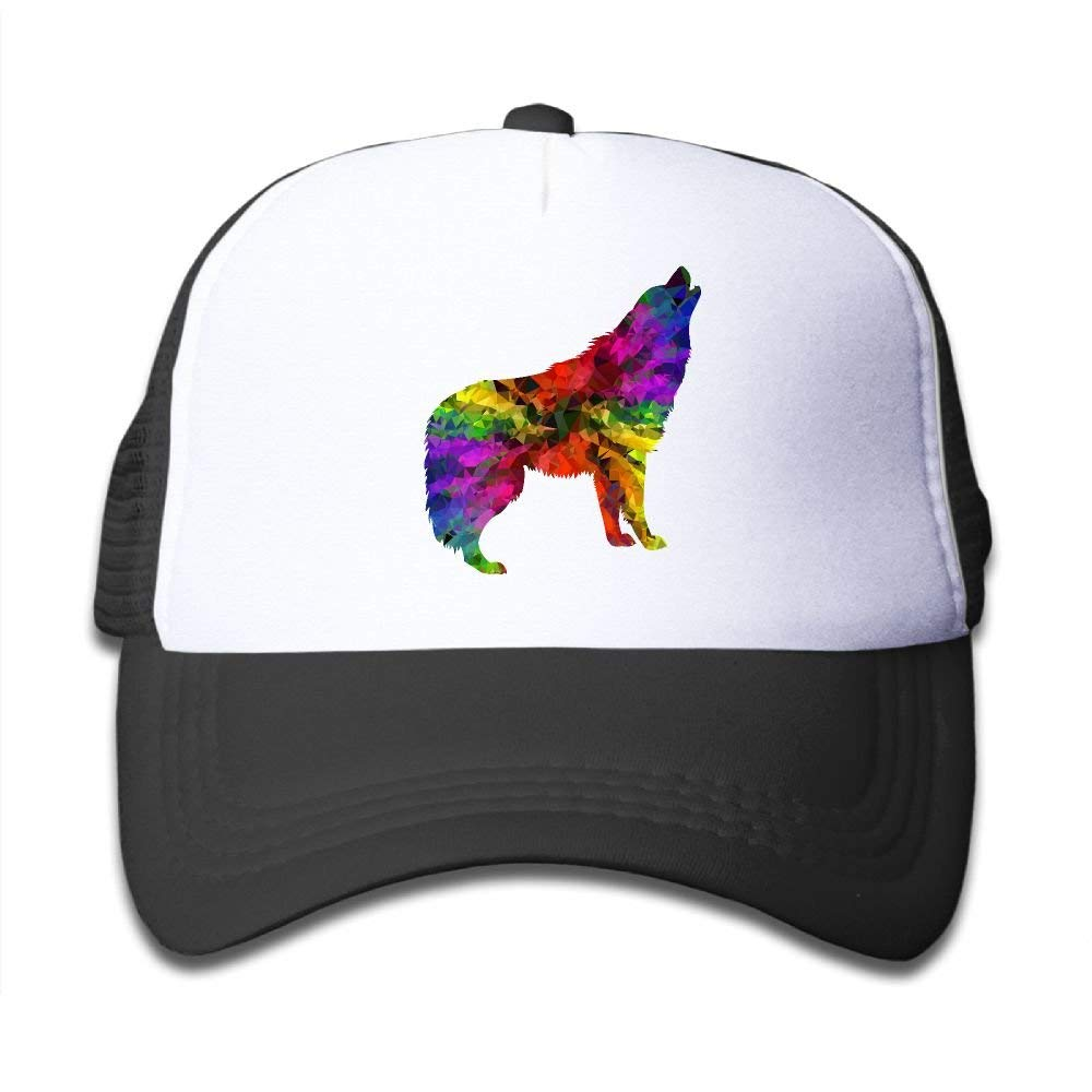 95b221afcd5 Get Quotations · Mesh Baseball Cap Boy Girl Youth Snapback Hats Howling Wolf  colorful