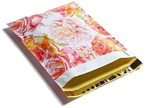 10x13 Watercolor Blossoms (Pink, Yellow) Designer Poly Mailers Shipping Envelopes 25 Pack