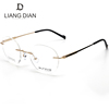 Top quality handmade titanium eyeglasses spectacles, round frame rimless male optical frame