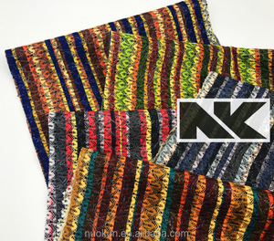 NK C001 net and glitter coated oxford fabric with colorful stripe for bags material