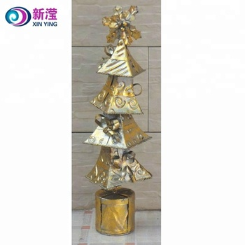 2018 gold metal spiral christmas tree tabletop decoration wholesale