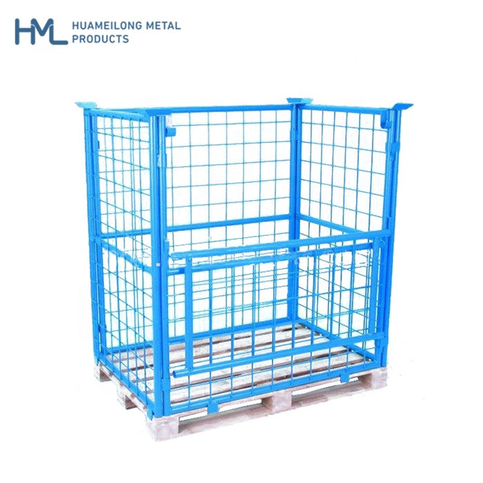 Welding stacking steel wire mesh warehouse storage collapsible pallet cage