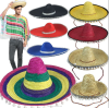Halloween Party Cosplay Costume Hawaii Mexico Big Large Brim Straw Hat Cap with Pompoms Balls Adults and Kids