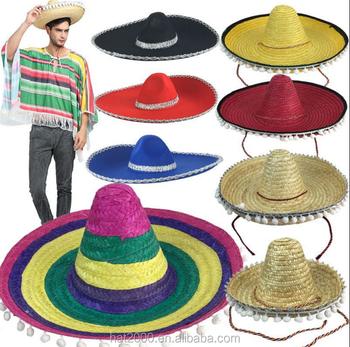 Halloween party Cosplay traje Hawaii México grande ala sombrero de paja con  pompoms bolas adultos y fd9cf7fc8bf