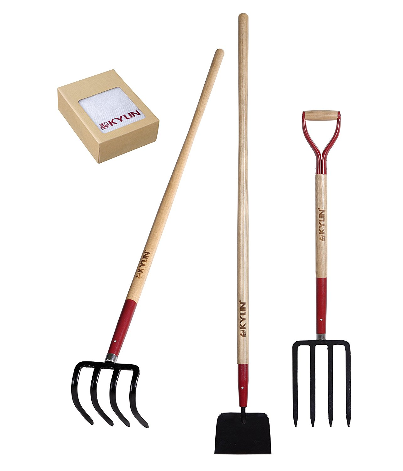 Kylin 3-Piece Forged Garden Tools Set - Include Forged Potato Hook/ Forged Sidewalk Scraper / Forged Spading Fork - Quality Guarantee - Sale!