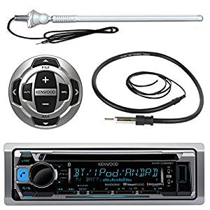 """Kenwood KMR-D368BT MP3/USB/AUX Marine Boat Yacht Stereo Receiver CD Player Bundle Combo W/ RC35MR Wired Remote Control, Enrock Water Resistant 22"""" Radio Antenna, Outdoor Rubber Mast 45"""" Antenna"""